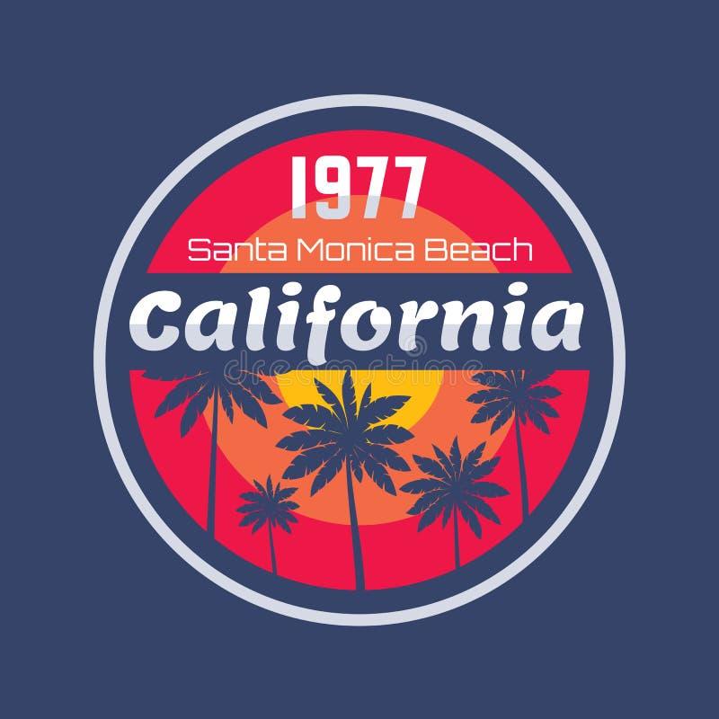 Калифорния 1977 - концепция иллюстрации вектора в винтажном графическом стиле для футболки и другой продукции печати Ладони, солн иллюстрация вектора