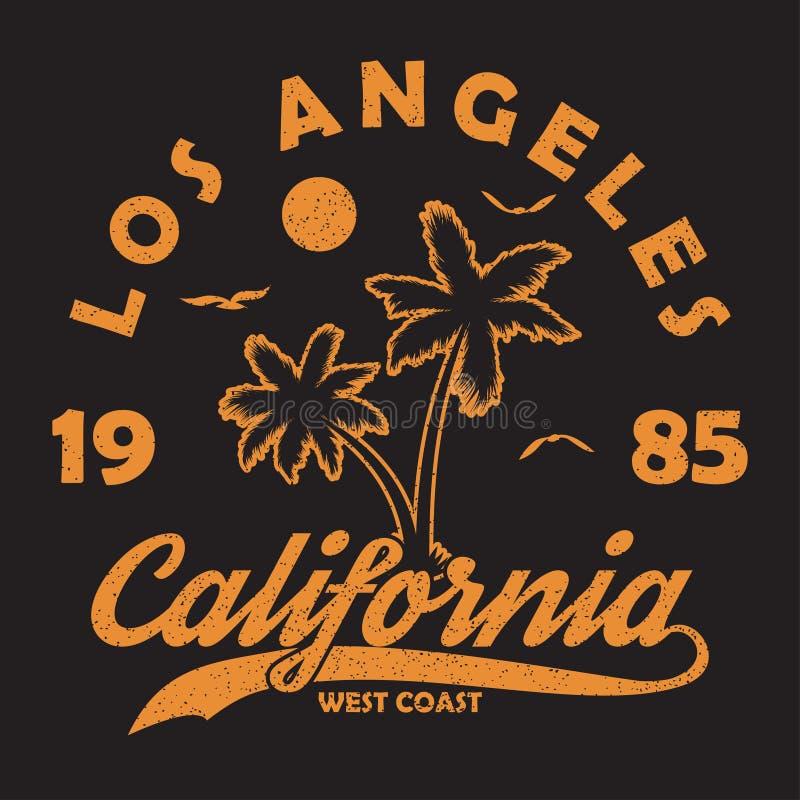 Калифорния, Лос-Анджелес - оформление для дизайна одевает, футболка Графическая печать с пальмой, чайкой и солнцем для одеяния ве иллюстрация штока