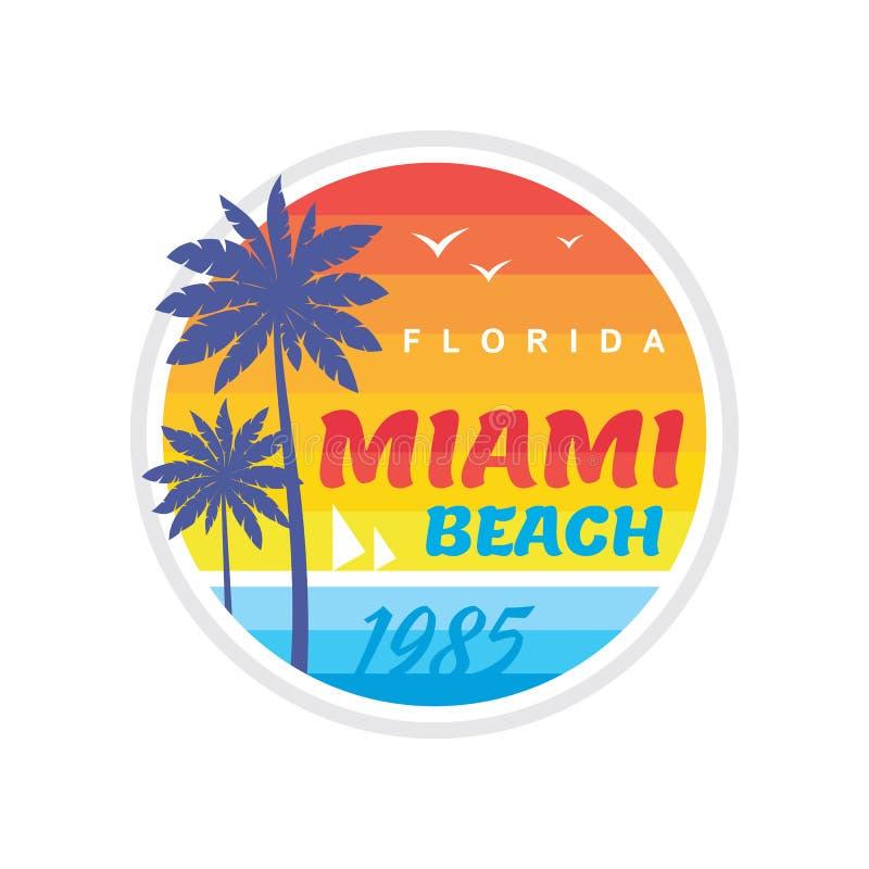 Калифорния Miami Beach 1985 - концепция иллюстрации вектора в ретро винтажном графическом стиле для футболки и другой продукции п иллюстрация штока