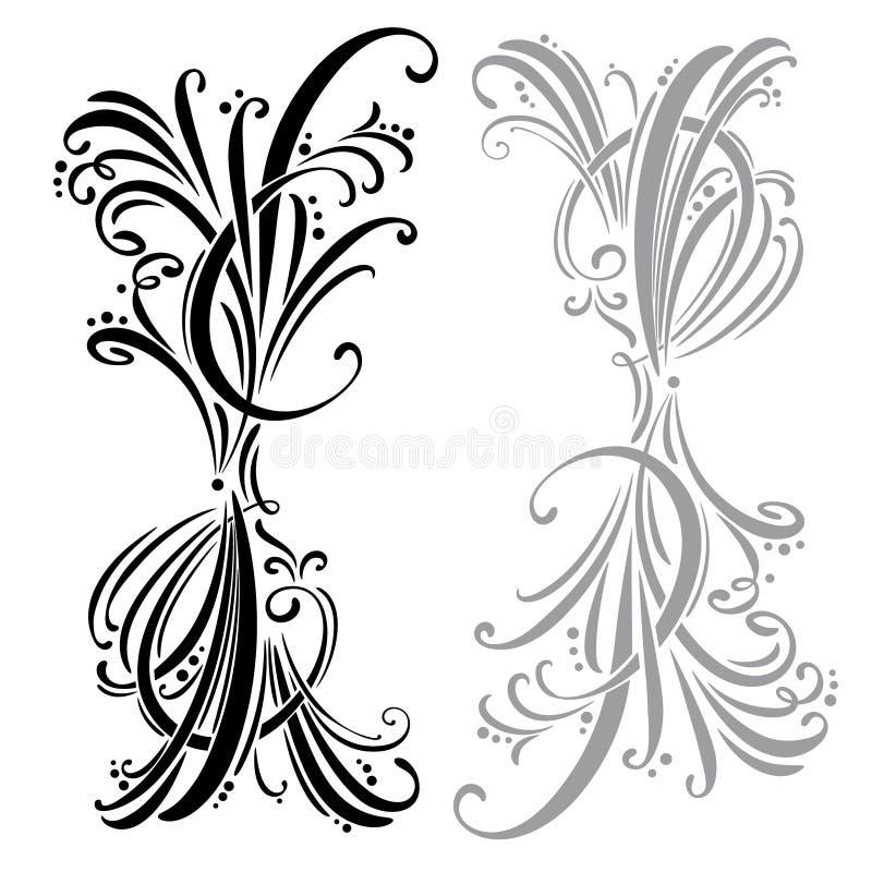 каллиграфическая страница элементов конструкции украшения Комплект иллюстрация вектора