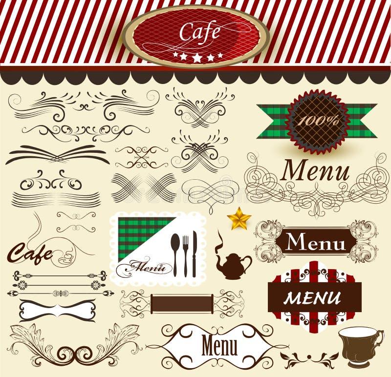 Каллиграфические декоративные ретро элементы для кафа и меню конструируют бесплатная иллюстрация