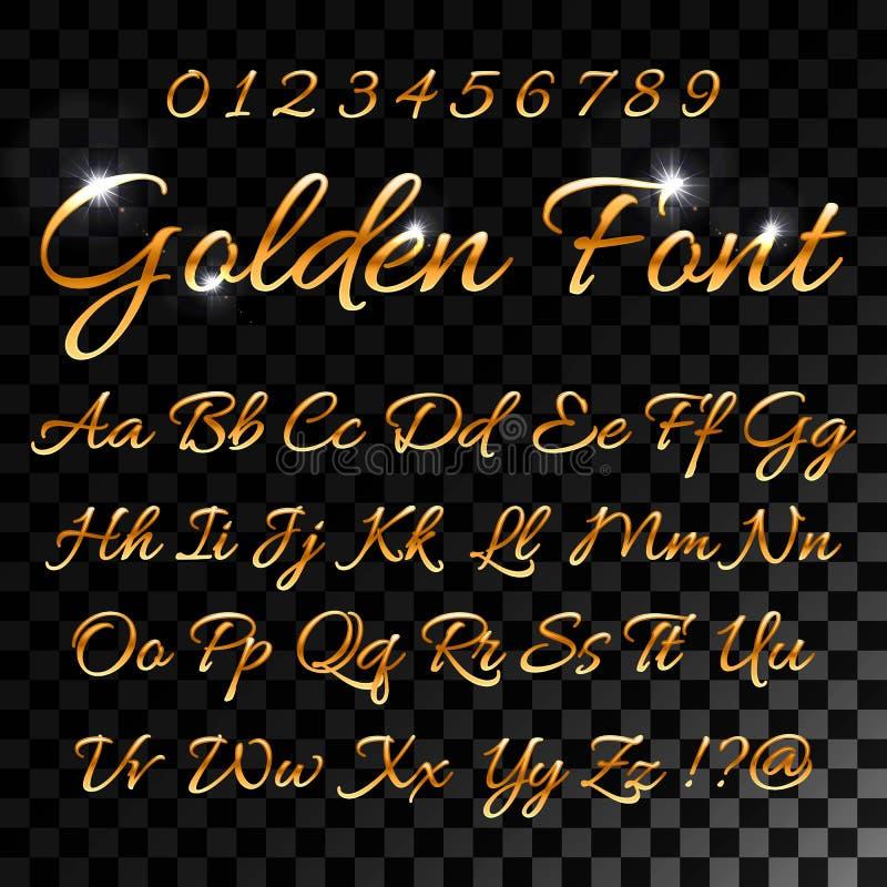 Каллиграфические золотые письма Винтажный элегантный шрифт золота Роскошный сценарий вектора Золотой алфавит каллиграфический, ка иллюстрация штока