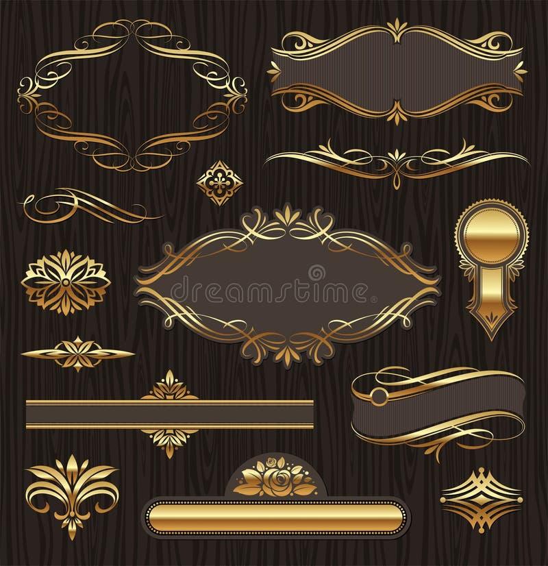 каллиграфические рамки элементов конструкции золотистые иллюстрация штока
