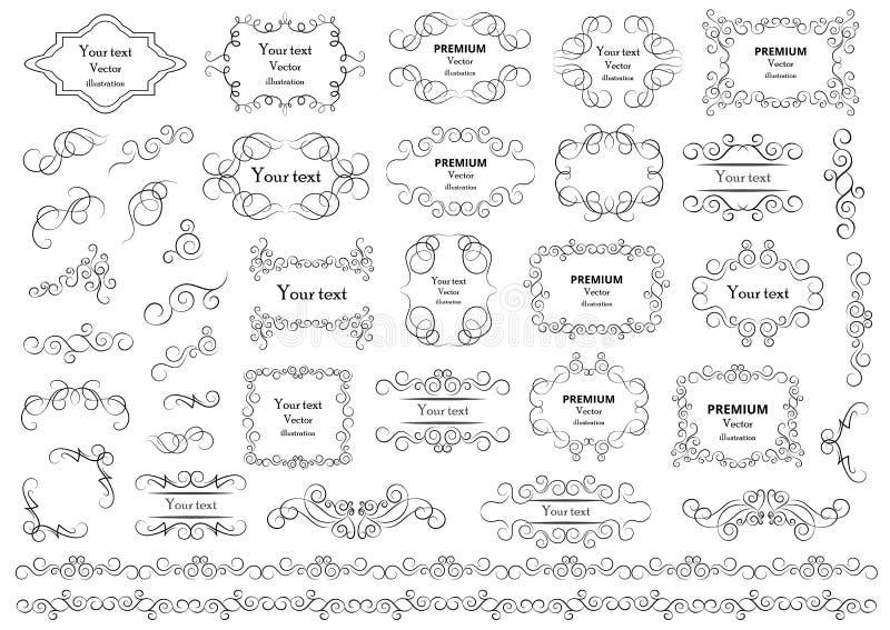 Каллиграфические элементы дизайна Декоративные свирли или перечени, винтажные рамки, эффектные демонстрации, ярлыки и рассекатели бесплатная иллюстрация