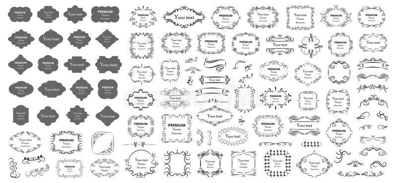 Каллиграфические элементы дизайна Декоративные свирли или перечени, винтажные рамки, эффектные демонстрации, ярлыки и рассекатели иллюстрация вектора