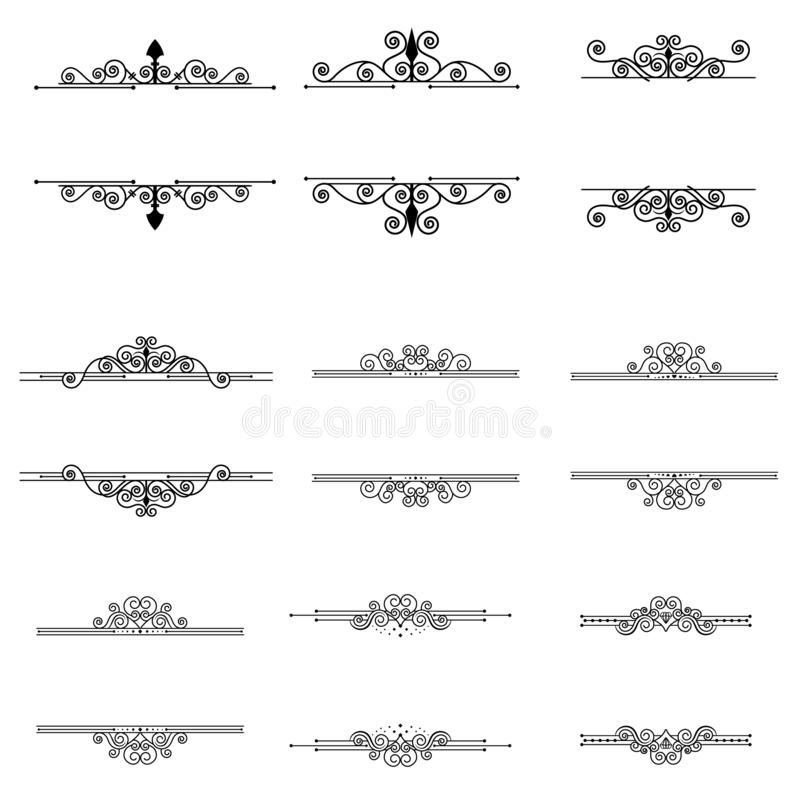 Каллиграфические элементы и рамки дизайна установили винтажное собрание вектора иллюстрация вектора