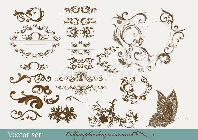 Каллиграфические элементы конструкции и украшение страницы иллюстрация штока