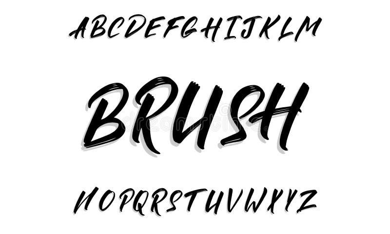 Каллиграфический рукописный шрифт вектора для помечать буквами Ультрамодный сценарий каллиграфии иллюстрация штока