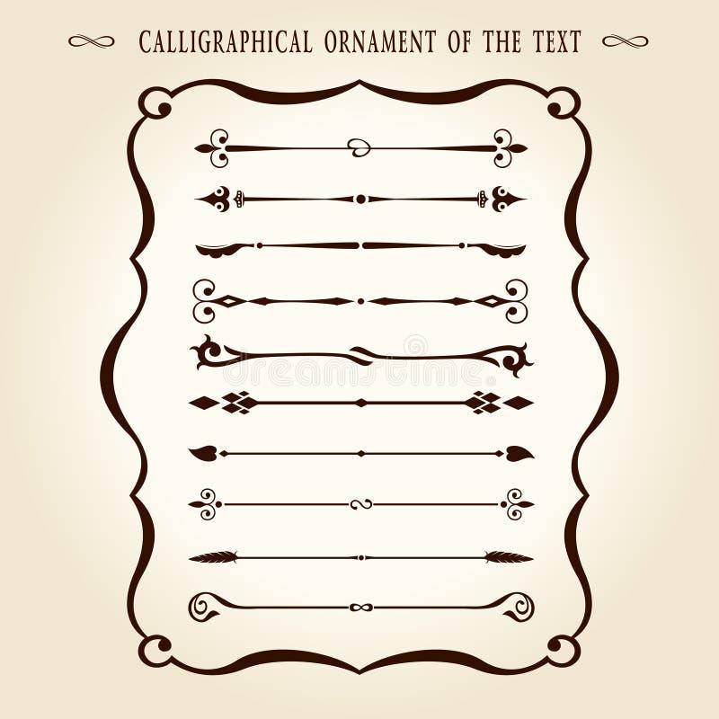 каллиграфический сбор винограда текста орнамента элементов бесплатная иллюстрация