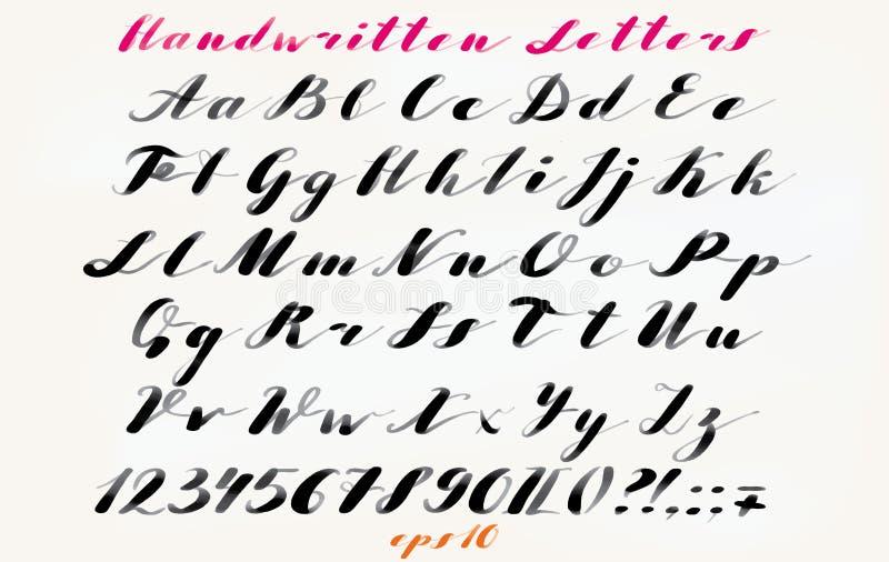 Каллиграфической шрифт нарисованный рукой Рукописный алфавит в элегантном стиле щетки Современный сценарий в векторе Художническо иллюстрация вектора