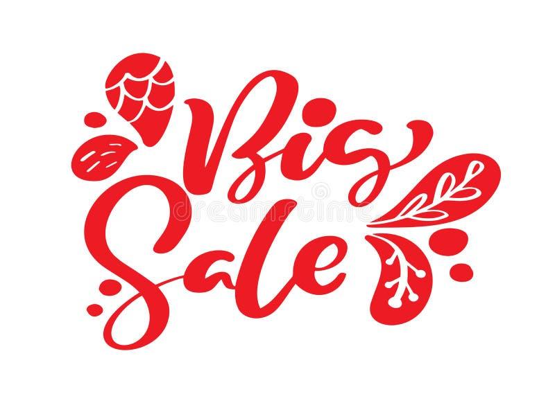 Каллиграфия и литерность большой продажи красная отправляют СМС на белой предпосылке Иллюстрация нарисованная рукой вектора eps10 иллюстрация вектора