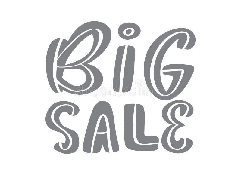 Каллиграфия и литерность большой продажи серая отправляют СМС на белой предпосылке Иллюстрация нарисованная рукой вектора eps10 Р иллюстрация штока