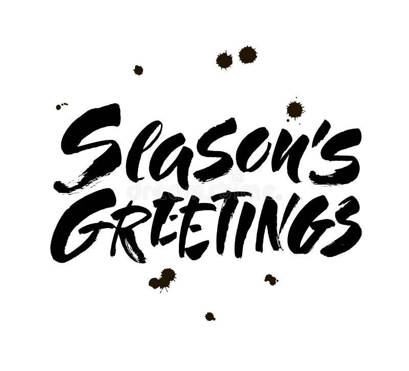 Каллиграфия приветствиям сезонов помечая буквами текст на белой предпосылке с винтажной бумажной текстурой Ретро поздравительная  бесплатная иллюстрация