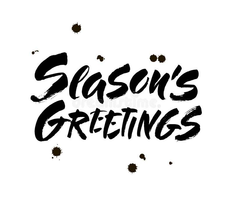 Каллиграфия приветствиям сезонов помечая буквами текст на белой предпосылке с винтажной бумажной текстурой r иллюстрация вектора