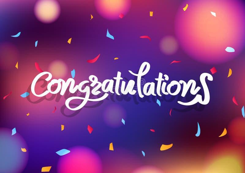 Каллиграфия сообщения поздравлениям, празднует партию запачкает красочный абстрактный падать confetti бумаги украшения предпосылк иллюстрация штока