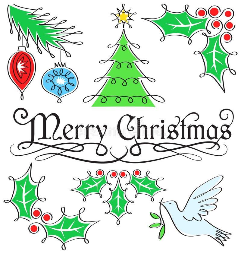 Каллиграфия с Рождеством Христовым установленная/eps иллюстрация штока