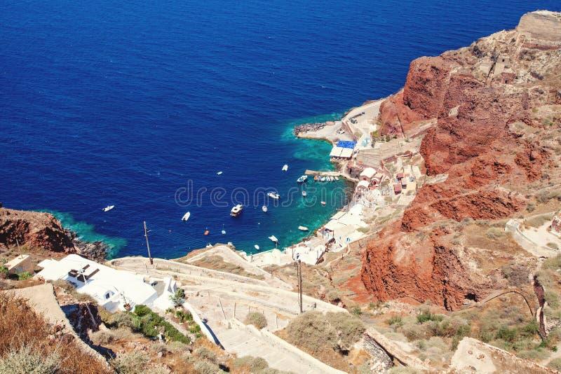 Кальдера Santorini и море, Греция стоковые изображения