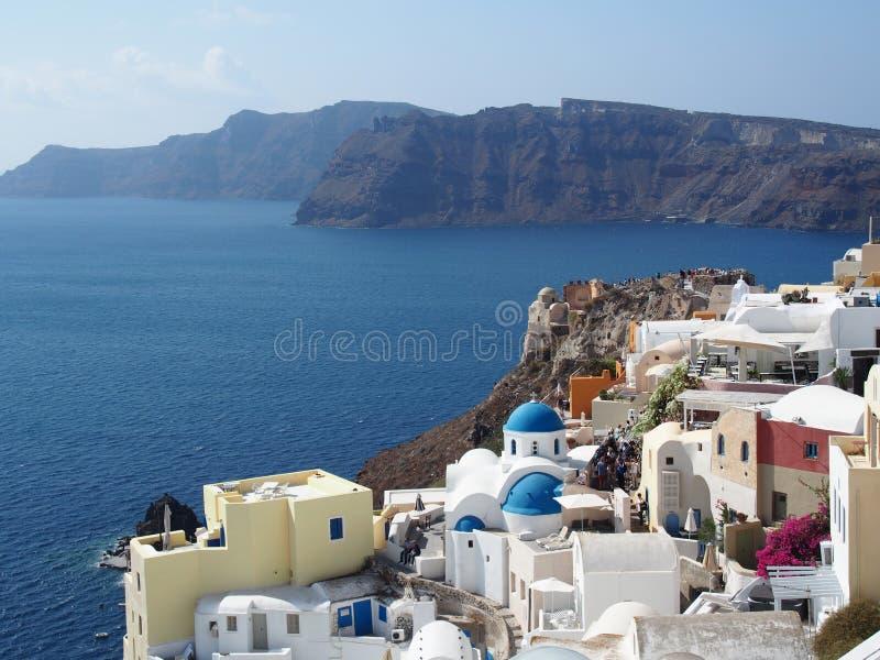 Кальдера Santorini к день стоковые фотографии rf