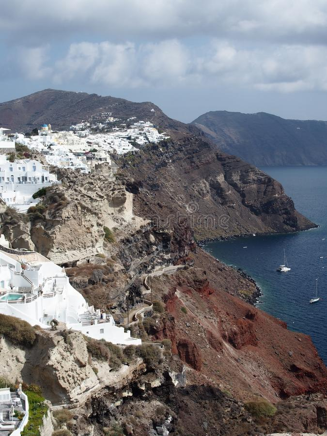 Кальдера Santorini к день стоковое фото