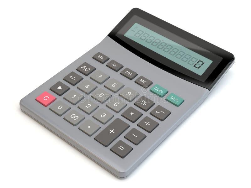 Калькулятор, белая предпосылка, иллюстрация 3D иллюстрация вектора