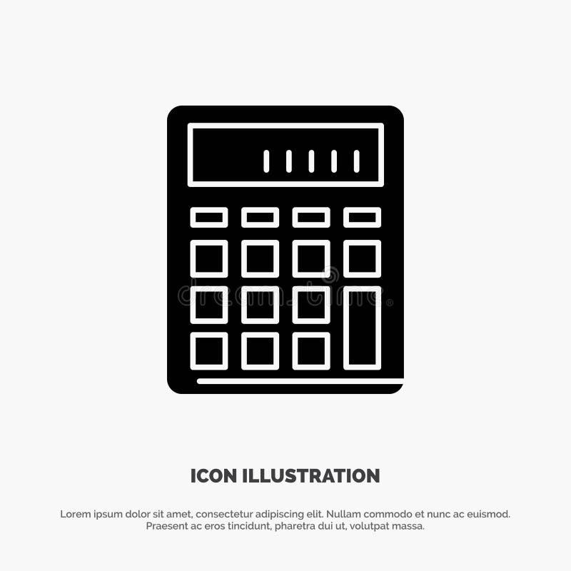 Калькулятор, бухгалтерия, дело, высчитывает, финансовый, вектор значка глифа математики твердый иллюстрация штока