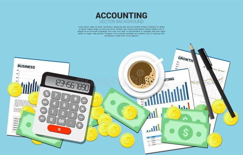 Калькулятор вектора со стогом взгляда сверху монетки и банкноты Место для работы таблицы предпосылки бухгалтера иллюстрация штока