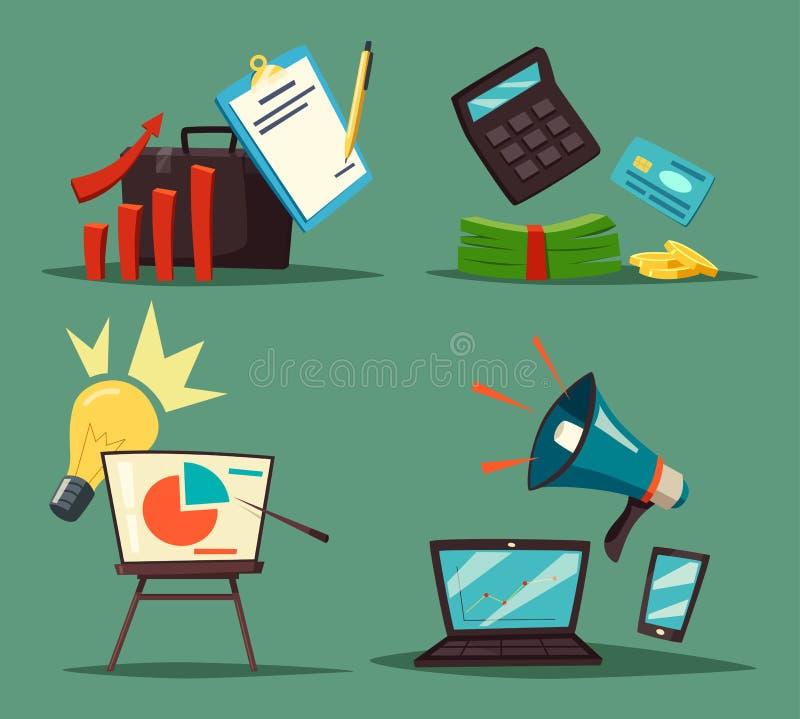 Калькулятор и диаграмма, банкноты и громкоговоритель иллюстрация штока