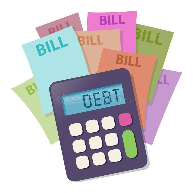 Калькулятор с красочными счетами оплаты иллюстрация вектора