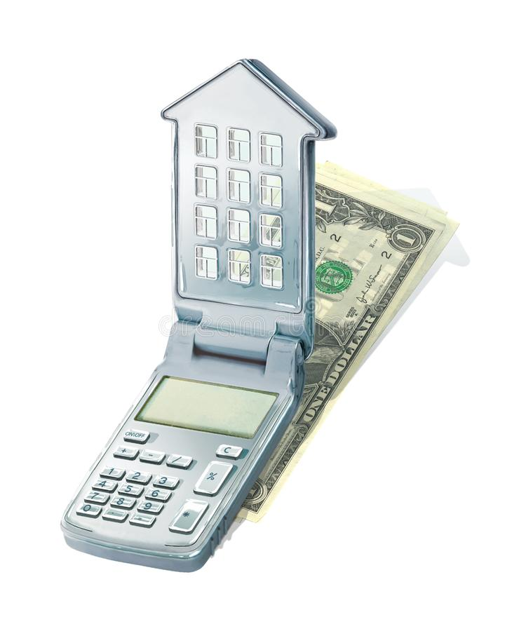 Калькулятор с крышкой в форме дома с окнами и крышей Калькулятор ипотечных платежей лежит на куче доллара иллюстрация вектора