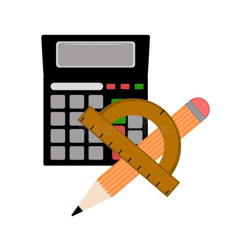Калькулятор с правителем и значком карандаша иллюстрация вектора