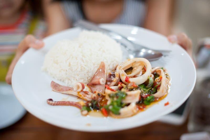 Кальмар зажаренный Stir с рисом стоковая фотография rf