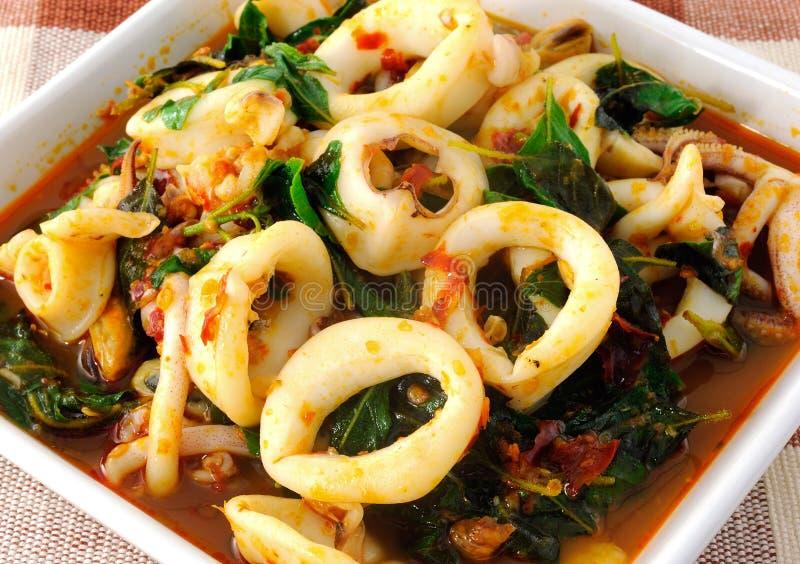 Кальмар тайской еды пряный стоковые фотографии rf