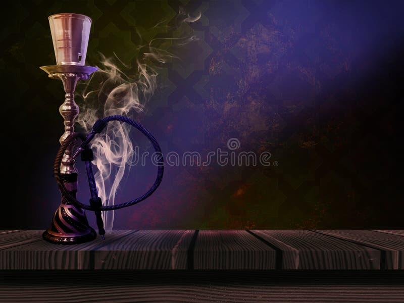 Кальян на красивой восточной предпосылке, дым стоковая фотография