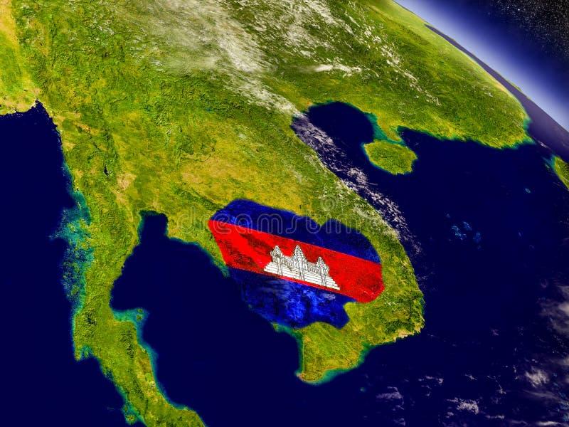 Download Камбоджа с врезанным флагом на земле Иллюстрация штока - иллюстрации насчитывающей спутник, природа: 81802476