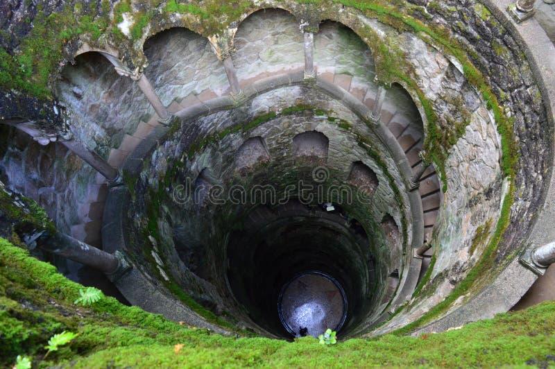Каменная винтовая лестница в форме колодца над взглядом стоковая фотография rf
