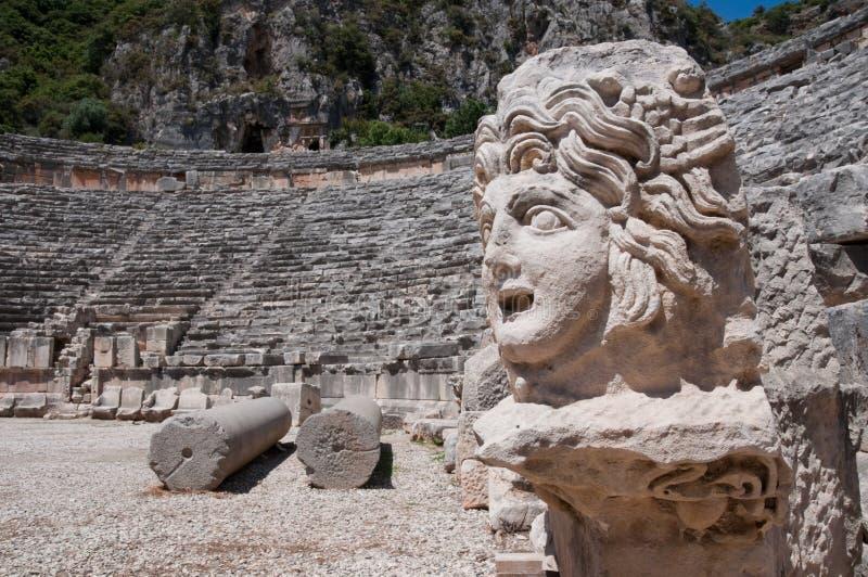 Каменная маска и старый амфитеатр, Myra (Турция) стоковое фото rf