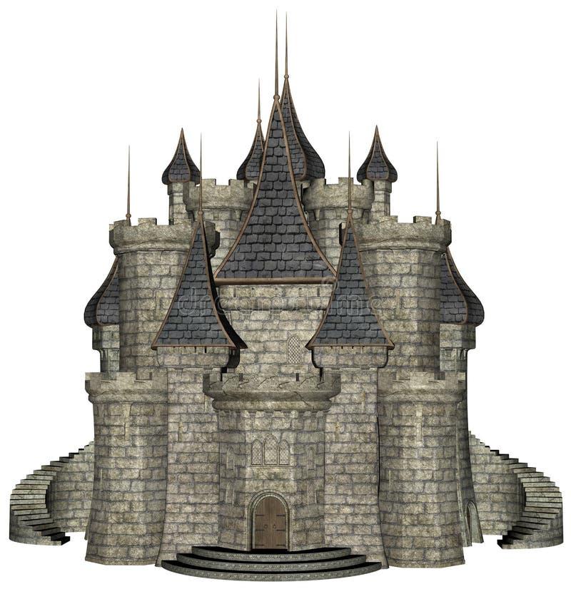 Каменная средневековая изолированная иллюстрация замка бесплатная иллюстрация