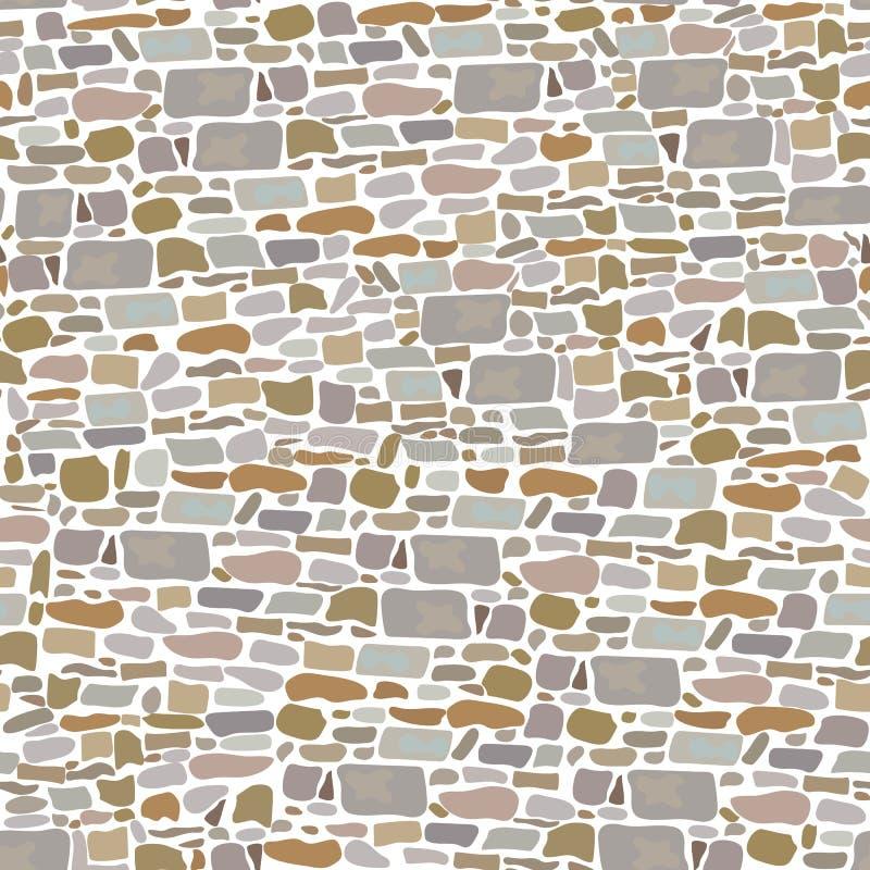 Каменная стена блока, безшовная картина Предпосылка сделанная одичалых кирпичей серый, красный, песок, желтый цвет, коричневый цв иллюстрация вектора