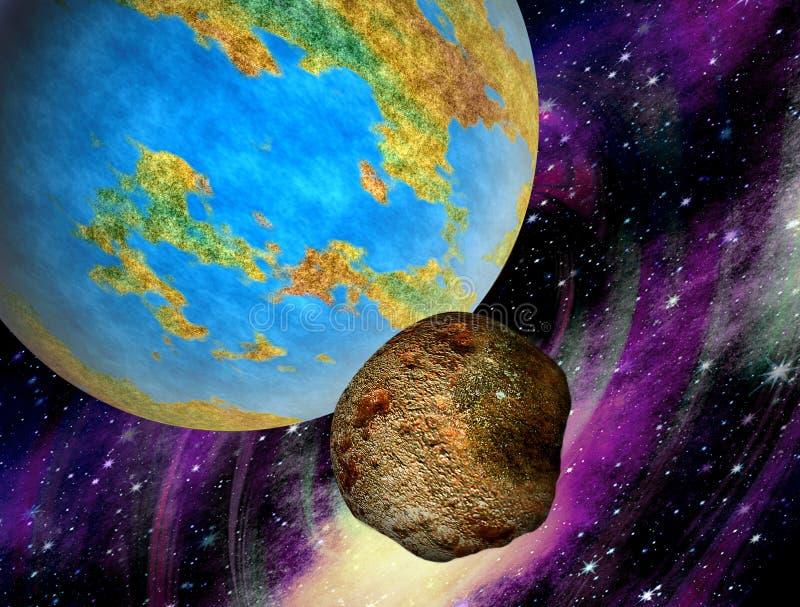 Каменное горячее астероидное летание к земле стоковое изображение rf