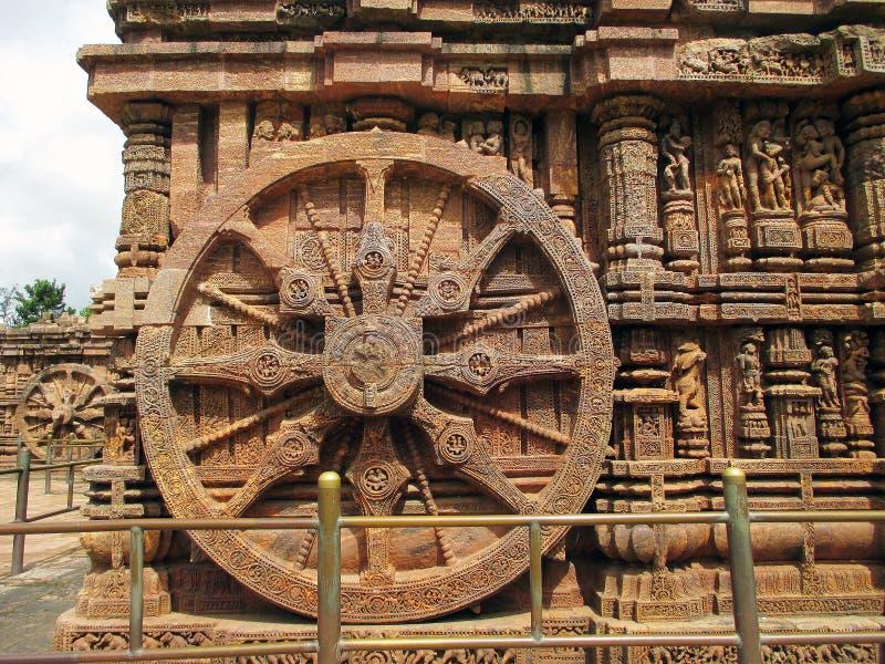 Каменное колесо виска Konark Солнця в Индии стоковое изображение