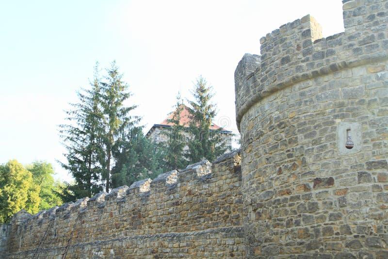 Каменные башня и стены замка Budyne стоковое фото