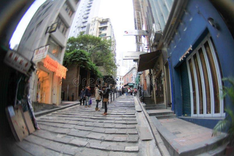 каменные слябы, улица Pottinger, Гонконг стоковое фото rf