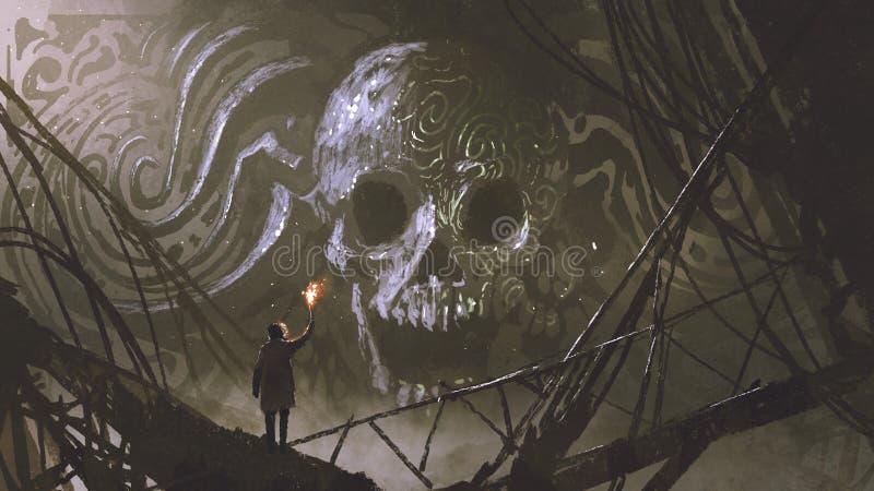 Каменный барельеф черепа в пещере бесплатная иллюстрация