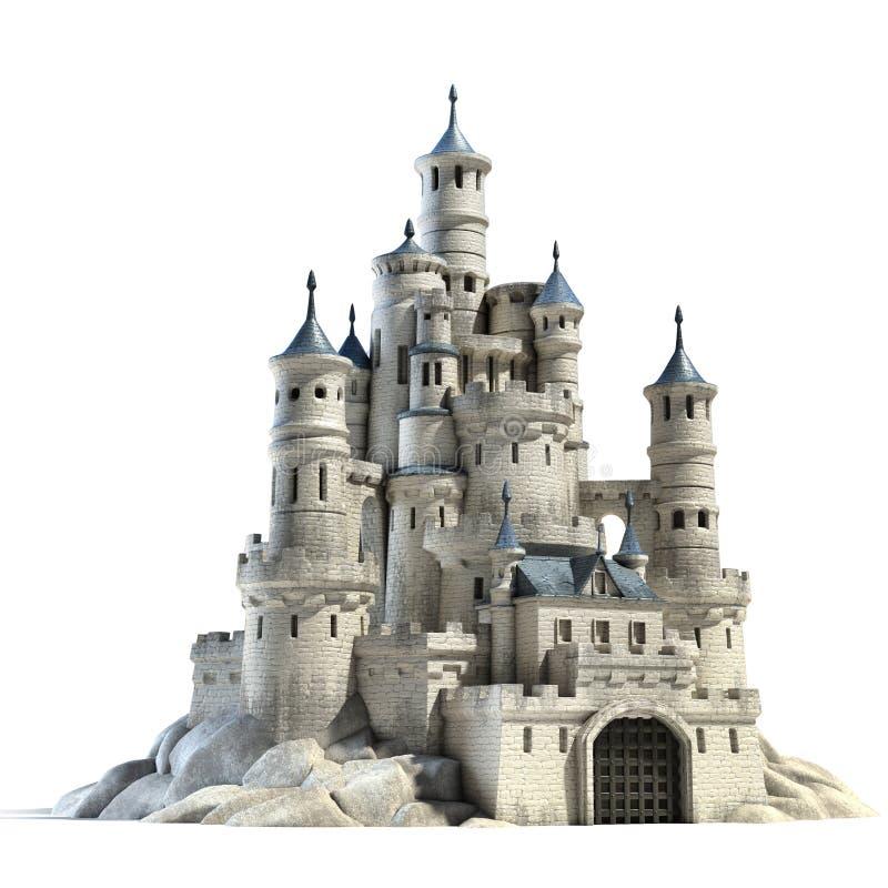 Каменный замок изолированный на белой предпосылке бесплатная иллюстрация