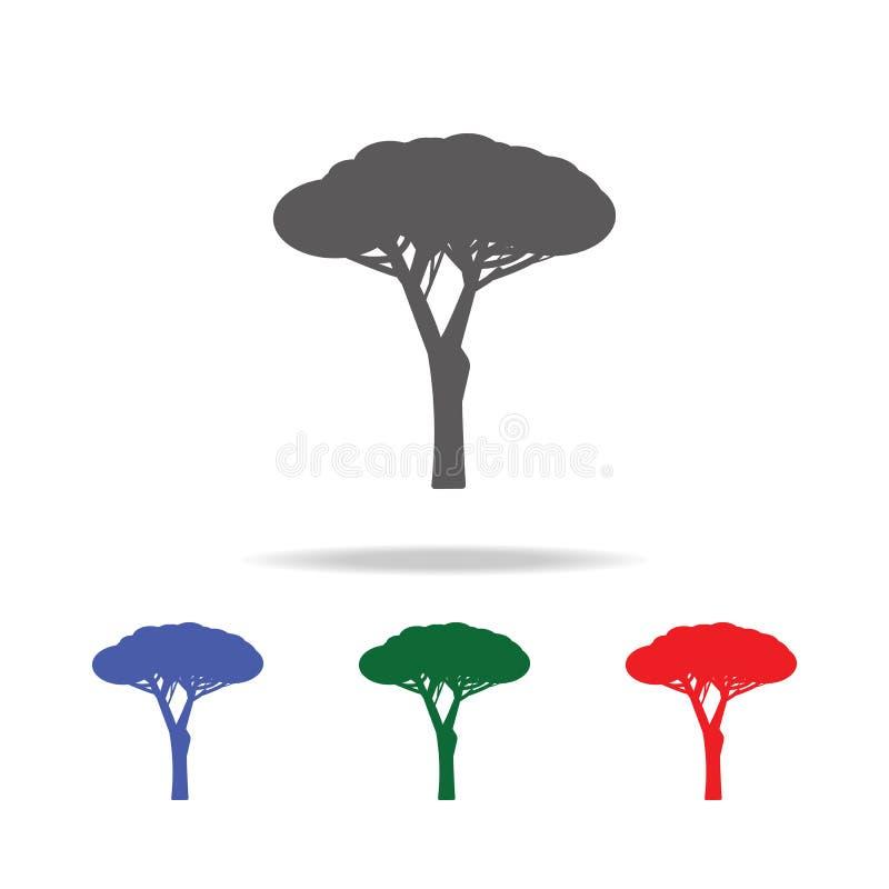 каменный значок сосны Элементы деревьев в multi покрашенных значках Наградной качественный значок графического дизайна Простой зн иллюстрация вектора