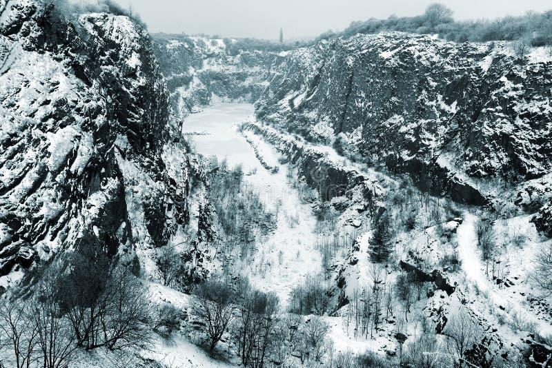 Каменный карьер большая Америка в зиме около Праги, чехии стоковые изображения