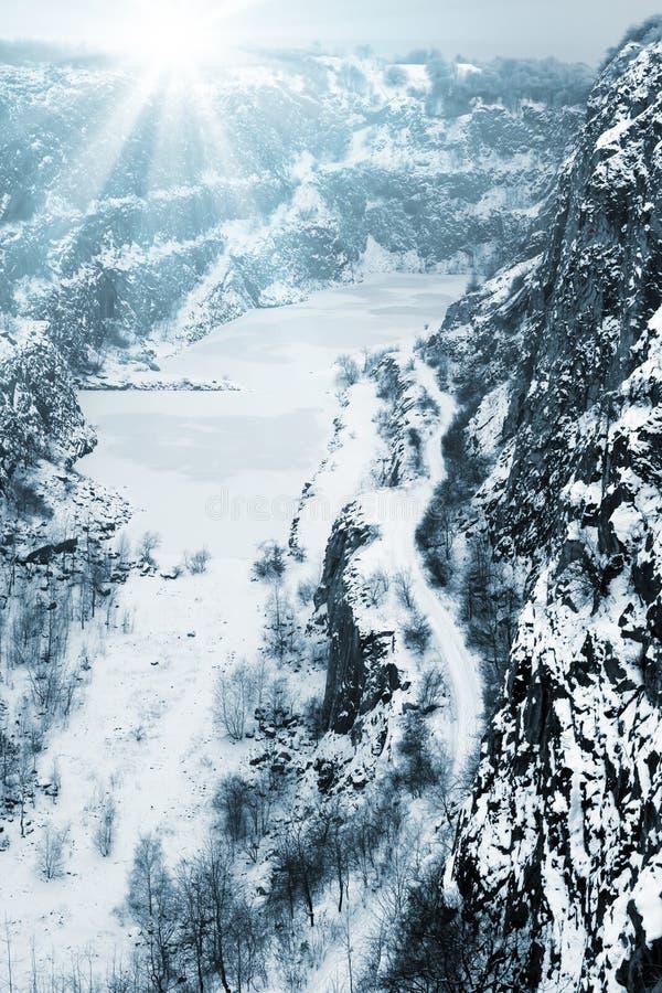 Каменный карьер большая Америка в зиме, чехии стоковое изображение rf