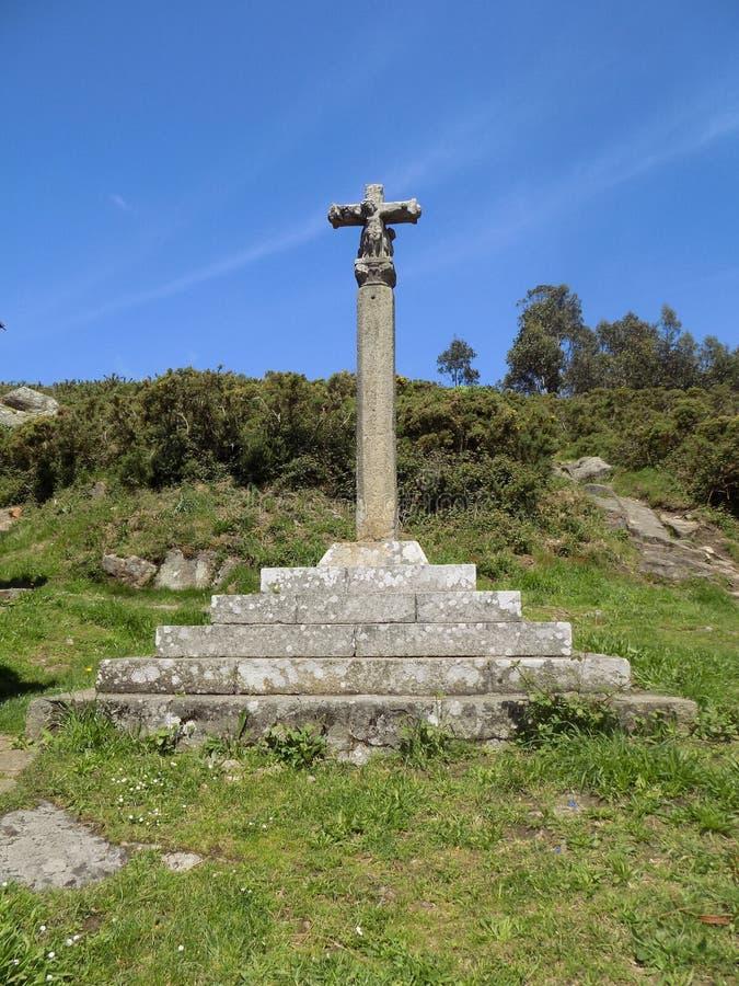 Каменный крест в Галиции стоковое фото