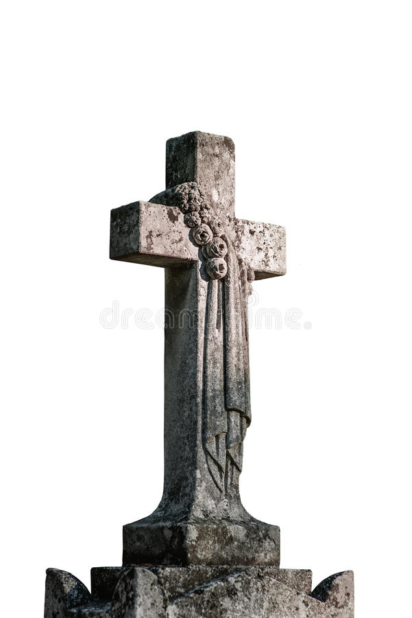 Download Каменный крест на белой предпосылке Стоковое Фото - изображение насчитывающей кладбище, крест: 33730016