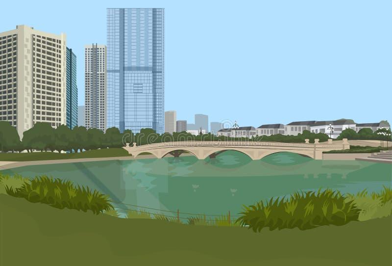 Каменный мост над взглядом ландшафта зданий города предпосылки городского пейзажа реки горизонтальным бесплатная иллюстрация